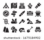 camping and adventure icon set  ... | Shutterstock .eps vector #1675184902
