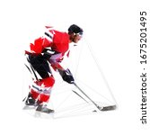 ice hockey player  low poly... | Shutterstock .eps vector #1675201495