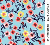 floral background for textiles....   Shutterstock .eps vector #1675205485