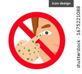 warning don't touch face with... | Shutterstock .eps vector #1675221088