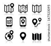 map travel icons set  | Shutterstock .eps vector #167523095