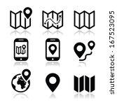 map travel icons set  | Shutterstock .eps vector #167523095