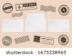 envelope template with stamp... | Shutterstock . vector #1675238965