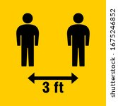 social distancing 3 feet icon.... | Shutterstock .eps vector #1675246852