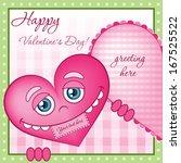 funny cartoon valentine heart... | Shutterstock .eps vector #167525522