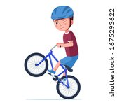 Boy Rides A Bmx Bike On The...