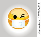 medical mask kiss emoji. virus... | Shutterstock .eps vector #1675306615