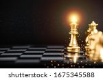 gold color chess pieces on...   Shutterstock . vector #1675345588