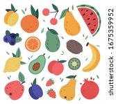 hand drawn fruits. doodle...   Shutterstock . vector #1675359952