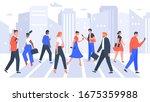 business people cross road.... | Shutterstock . vector #1675359988