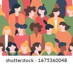 Women Crowd Seamless Pattern....