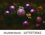 Purple Glass Christmas Balls On ...