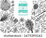 herbs and spices hand drawn...   Shutterstock .eps vector #1675393162