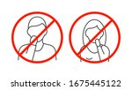 dont touch your face line icons ... | Shutterstock .eps vector #1675445122