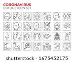 coronavirus line icon set for... | Shutterstock .eps vector #1675452175