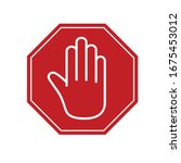 white hand on a red sign stop.... | Shutterstock .eps vector #1675453012