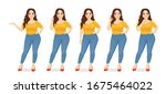 young happy beautiful plus size ... | Shutterstock .eps vector #1675464022