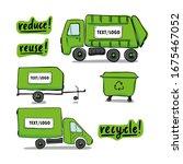 set of cargo vehicle truck ... | Shutterstock .eps vector #1675467052