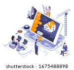 smart home landing page vector...