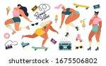 roller skating girls with...   Shutterstock .eps vector #1675506802