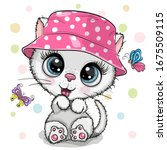cute cartoon white kitten in a... | Shutterstock .eps vector #1675509115