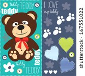 cute teddy bear with red bow vector illustration