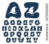 alphabet with shark's fin. hand ... | Shutterstock .eps vector #1675532065