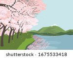 springtime concept. cherry... | Shutterstock .eps vector #1675533418