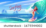 young surf girl riding ocean... | Shutterstock .eps vector #1675544002