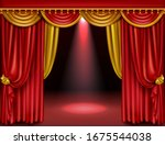 theater stage with red and gold ... | Shutterstock .eps vector #1675544038