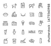 Milk  Dairy Products  Icon Set. ...