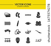 details icons set with door...