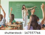 students answering the teacher... | Shutterstock . vector #167557766