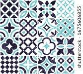 blue and white tile seamless... | Shutterstock .eps vector #1675606855