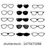 hand drawn glasses set  summer...   Shutterstock .eps vector #1675671088