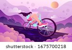 young  pretty girl riding a two ... | Shutterstock .eps vector #1675700218