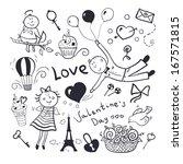 black white sketch valentines... | Shutterstock .eps vector #167571815