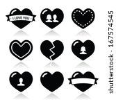 love hearts icons set for... | Shutterstock .eps vector #167574545