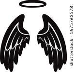 angel wing with halo black and...   Shutterstock .eps vector #1675763578
