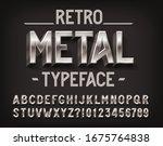 retro metal alphabet font. 3d... | Shutterstock .eps vector #1675764838