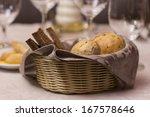 fresh crusty bread in a basket - stock photo
