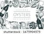 oysters and wine design... | Shutterstock .eps vector #1675904575