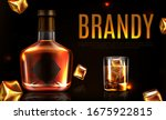 brandy bottle and glass with... | Shutterstock .eps vector #1675922815