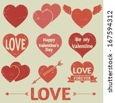 hearts icons. vector set ... | Shutterstock .eps vector #167594312