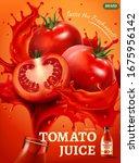 fresh tomato juice ad ... | Shutterstock .eps vector #1675956142