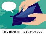 empty wallet with no money in...   Shutterstock .eps vector #1675979938