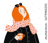 cute hipster girl with coffee ...   Shutterstock .eps vector #1675983292