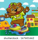 bear skateboarder on a colored