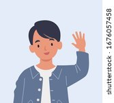 smiling boy are waving hand in... | Shutterstock .eps vector #1676057458