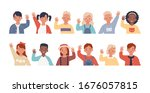 set of children waving their... | Shutterstock .eps vector #1676057815